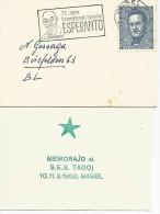 Esperanto, Svizzera Basel 1962, Bustina Con Targhetta Zamenhof Su Francobollo Pro Juventute Furrer 5+5 C. 1961. - Esperanto