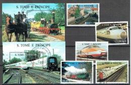 SAINT THOMAS ET PRINCE 1996, LOCOMOTIVES, TRAINS ANCIENS ET MODERNE, TGV, 5 Valeurs Et 2 Blocs, Oblitérés / Used. R716-7 - Trains
