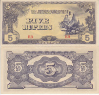 BURMA 5 RUPEES 1942 JAPANESE GOVERNMENT OCCUPATION - Myanmar