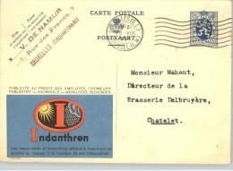 080300 LION 50c [1929] - POSTAL CARD INDANTHREN BRUXELLES(Q.L.)//BRUSSEL( LW.) -1934 > CHATELET - Postcards [1909-34]