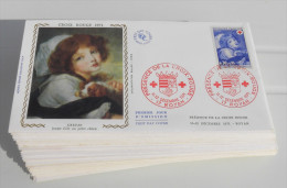 Lot 55 Enveloppes Premier Jour Soie Année 1971 -  Croix Rouge Hommage Général De Gaulle Europa Aviation - FDC