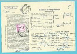 """1067 op BULLETIJN VAN ONREGELMATIGHEDEN / """"Luchtpostbriefwisseling van"""", stempel BRAINE-LE-COMTE (zeldzaam dokument) !!"""