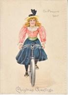 VICTORIAN  ERA  1880´s   TUCK  CHRISTMAS  CARD   GIRL  ON  BICYCLE - Christmas