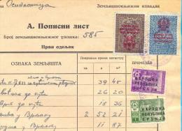 EX YU. Fiscal Revenue Tax Stamps On Document. 1946. - 1945-1992 Socialist Federal Republic Of Yugoslavia