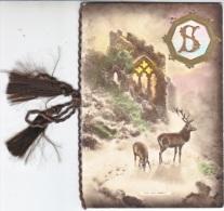 CHRISTMAS  CARD   1929  FAUNA  DEER - Embroidered