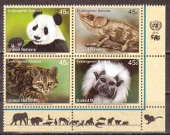 UN-New York. Scott # 1042-45 MNH Inscription Block Of 4. Endangered Species. 2012 - New-York - Siège De L'ONU
