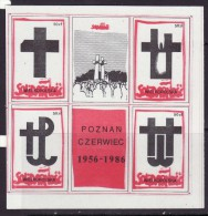 POLAND SOLIDARNOSC - 1986 POCZTA SOLIDARNOSC WIELKOPOLSKA -30 ANNIVERSARY OF POZNAN JUNE 1956 MS  MNH - Solidarnosc-Vignetten