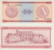 1985. AF58. CUBA UNC 20 PESOS 1985. SERIE A. EXCHANGE CURRENCY. CERTIFICADO DE DIVISA. PERFECT UNC.