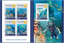 slm14307ab Solomon Is. 2014 Fish Diving 2 s/s