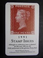 "Calendrier petit format carte : Timbre ""Postage - one penny"" 1991 Stamp issues - British Philatelic Bureau EDINBURG EH3"