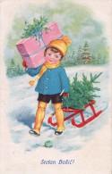 AK WEIHNACHTEN KINDER  JUNGE  SCHLITTEN M.D.O. Nr. 547.  Weihnachtsbaum ALTE POSTKARTEN 1937 - Weihnachten