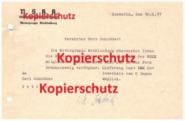 Brief Der NSKK Motorgruppe Mecklenburg An Carl Schröder , Bergring Teterow , Bergringrennen 1937 , Motorsport !!! - Motorräder