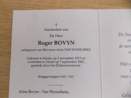 Doodsprentje Roger Bovyn Marke 2/11/1913 Heule 7/9/2001 ( Aline Van Wymelbeke ) - Religion & Esotérisme