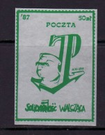 POLAND SOLIDARNOSC - 1987 POCZTA SOLIDARNOSC WALCZACA - J.PILSUDSKI  MNH - Solidarnosc-Vignetten