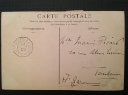 Cachet Ligne Maritime N°2 MARSEILLE à LOANGO 1905 Sur Carte Postale Algérie La Prière - Storia Postale