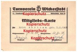 Turnverein Wickerstedt / Bad Sulza , Mitgliedsausweis 1935 , Erich Bertram , Turnen , Sport , Verein !!! - Leichtathletik