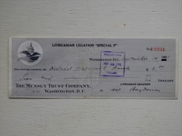 """Sale! Old 1931 Year Bank Cheque Check From Lithuania Lithuanian Legation """"special P""""  2 Scans Bill Of Exchange USA - Lituanie"""