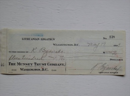 Sale! Old 1927 Year Bank Cheque Check From Lithuania Lithuanian Legation 2 Scans Bill Of Exchange USA - Lituanie