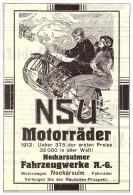 Original Werbung - 1914 - NSU Motorräder , Neckarsulm , Oldtimer , Motorrad , Moto !!! - Motorräder