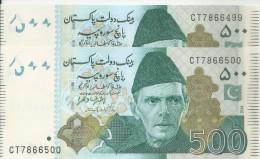 Pakistan Rs 500. Consecutive No, Starting 786 Islamic Holy   2 Notes New Governor Ashraf Wathra SBP 2014 UNC - Pakistan