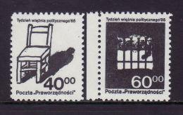 POLAND SOLIDARNOSC - 1985 POCZTA PRAWORZADNOSCI - WEEK OF POLITICAL PRISONER   MNH - Vignette Solidarnosc