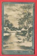 152496 / Sweden  Art Carl Johan Forsberg - SUNSET , WINTER RIVER HAUSE LANDSCAPE - 123 KARNOBAT  Bulgaria Bulgarie - Paintings