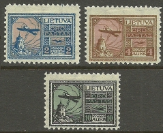 LITAUEN Lithuania 1922 Michel 121 - 123 * Flugpost Air Mail Air Planes - Litauen
