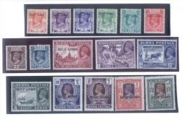 1945 MYANMAR BURMA SG35/50 MILITARY ADMIN George VI Set Of 16 Stamps MLH (S-58) - Myanmar (Burma 1948-...)