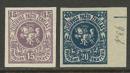 LITAUEN Lithuania 1919 Michel 61 - 62 B ? Probedrucke ? - Litauen