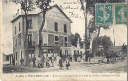 Cp 91 JUVISY / Orge Et VIRY CHATILLON Route De Fontainebleau Savigny Café BELLES FONTAINES Commerce Habitation Attelage - Juvisy-sur-Orge