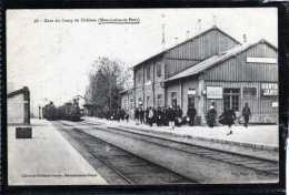 51 GARE DE DU CAMP DE CHALONS A MOURMELON LE PETIT ANIMATION SUPERBE DEUX TRAINS ARRIVANT EN GARE + PUBS - Frankrijk