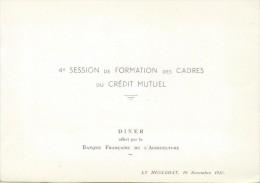 Diner /Banque Française De L'Agriculture/Crédit Mutuel / Formation Des Cadres /Le Huelgoat/Landerneau/ 1958     MENU125 - Menus
