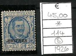 1926 ERITREA Effige L. 1.25  N. 114  Nuovi * MLH - Eritrea