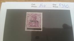 LOT 225546 TIMBRE DE COLONIE SARRE NEUF* N�14a VALEUR 340 EUROS