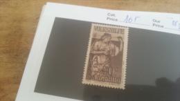 LOT 225575 TIMBRE DE COLONIE SARRE NEUF** N�165 VALEUR 20 EUROS