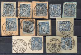 N°90  - 15 C  Bleu - Lot De 6 Fragments Avec Cachet Centré - Marcophilie (Timbres Détachés)