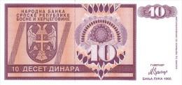 BOSNIE-HERZEGOVINE   10 Dinara  Emission De 1992   Pick 133     ***** BILLET  NEUF ***** - Bosnia Erzegovina