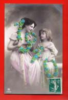 CPA - Fillette Et Jeune Femme - Little Pretty Girl - Voeux 1910 - Portraits