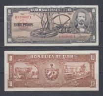 1958. AF16 CUBA UNC 10 PESOS 1958. CARLOS MANUEL DE CESPEDES. LA DE MAJAGUA. INDEPENDENCE WAR. PERFECT UNC.