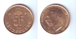 Luxembourg 5 Francs 1990 - Luxemburg