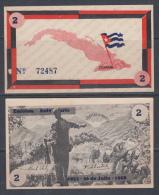 1958. AF27 CUBA UNC 2 PESOS 1958. MOVIMIENTO 26 DE JULIO. FIDEL CASTRO. PERFECT UNC.