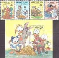 Walt Disney  MiNr. 551 - 555 (Block 29) Lesotho  MNH / ** / POSTFRISCH - Disney