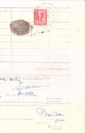 INDIA JAIPUR STATE TWO ANNA RED REVENUE STAMP USED ON DOCUMENT FROM SAMBHAR - Jaipur