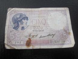 Billet De La Banque De France >1933  VIOLET   >> 5F Cinq Francs Vendu En L´état - 1871-1952 Circulated During XXth