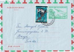 Postal History Cover: Burundi With Monkey Overprinted Stamp On Aerogramme - Singes
