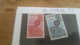 LOT 225677 TIMBRE DE ANDORRE NEUF** N�179/180 VALEUR 25 EUROS