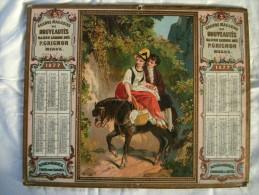 Calendrier 1877 Publicit� Gds magasins GRIGNON MEAUX Chromo Litho HAMELIN
