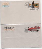 SWEDEN 1978 Rural Postmen Postal Stationery Set Of 2 Pieces Cancelled..   Michel F7, LF7 - Postal Stationery