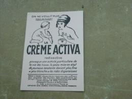 VDS CARTE POSTALE PUBLICITE ON NE VIEILLIT PLUS MIEUX ON RAJEUNIT LA CREME ACTIVA - Advertising