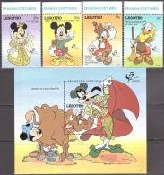 Walt Disney  MiNr. 970 - 974 (Block 88) Lesotho  MNH / ** / POSTFRISCH - Disney